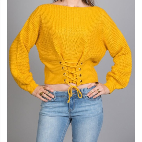 Sweaters - [NEW]: Mustard Lace Up Sweater